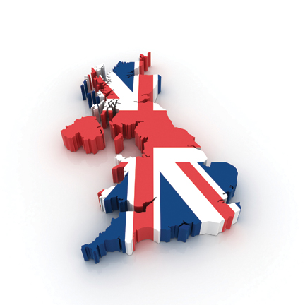 Three dimensional map of United Kingdom in British flag colors.